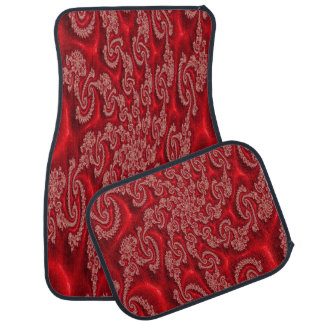 Elegant Red Lace Design Set of 4 Car Mats