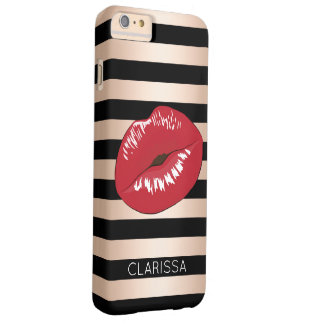 elegant red lips rose gold black stripes pattern barely there iPhone 6 plus case