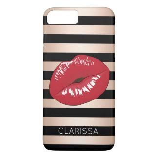 elegant red lips rose gold black stripes pattern iPhone 8 plus/7 plus case