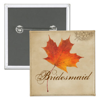 Elegant Red Maple Leaves Fall Wedding 2 Inch Square Button