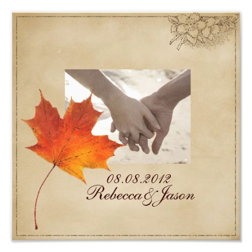 Elegant Red Maple Leaves Fall Wedding Photographic Print