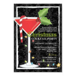 """Elegant Red Martini Christmas Cocktail Party 3.5"""" X 5"""" Invitation Card"""