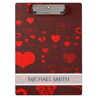 Elegant Red Modern Heart Pattern #2 Clipboard