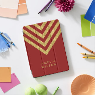 Elegant Red Name Faux Gold Chevron Pattern iPad Pro Cover