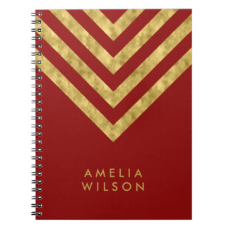 Elegant Red Name Faux Gold Chevron Pattern Notebook