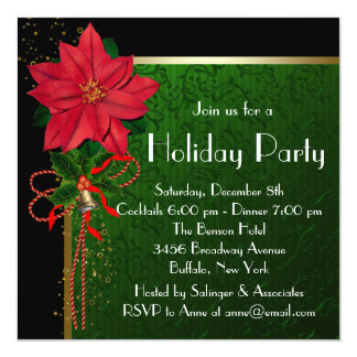 Elegant Red Poinsettia Green Christmas Party Card