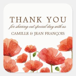 Elegant Red Poppy Flowers Weddin Wedding Thank You Square Sticker