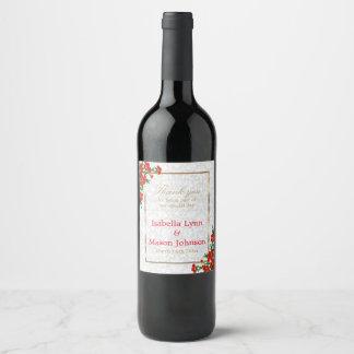 Elegant Red Poppy Flowers - Wedding Wine Label
