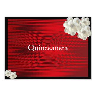 "Elegant Red Quinceanera / Sweet Fifteen 4.5"" X 6.25"" Invitation Card"