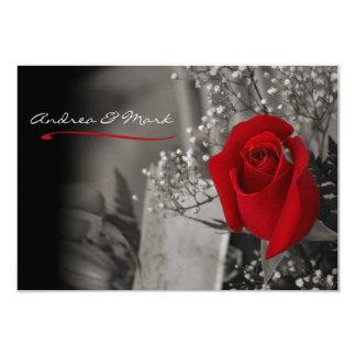 Elegant Red Rose Black and White Wedding Card