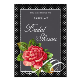 Elegant Red Rose Black Polka Dots Bridal Shower Card