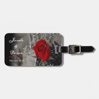 Elegant Red Rose Fade Out Just Married Bag Tag