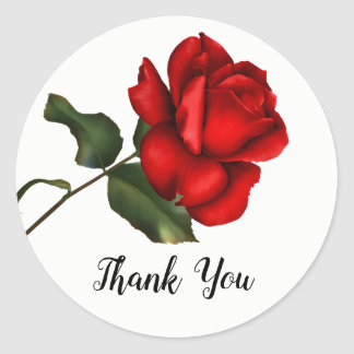 Elegant Red Rose Long Stem Floral Party Favor Classic Round Sticker