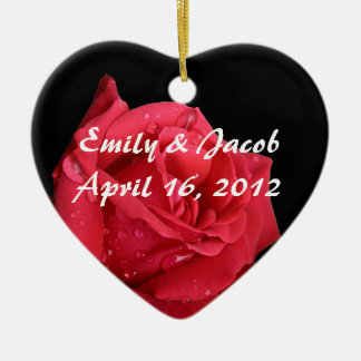 Elegant Red Rose Personalized Ornaments