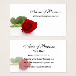 Elegant Red Rose Professional Red and White Floral Business Card