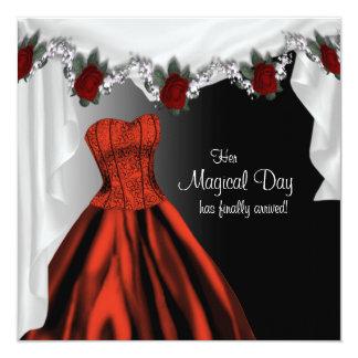 Elegant Red Rose Quinceanera Invitations
