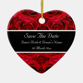 Elegant red rose save the date wedding invitations ceramic heart ornament