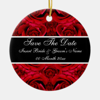 Elegant red rose save the date wedding invitations round ceramic ornament