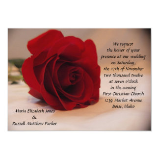 Elegant Red Rose Wedding Card