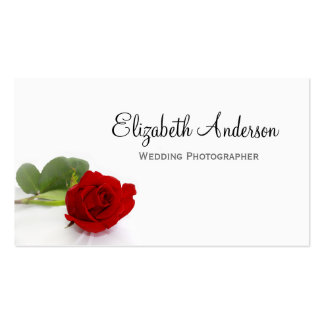 Elegant Red Rose Wedding Photographer Business Card