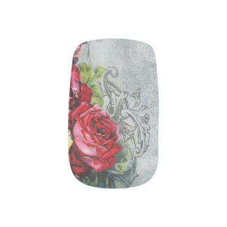 Elegant Red Roses and Engraved Swirls Nail Stickers