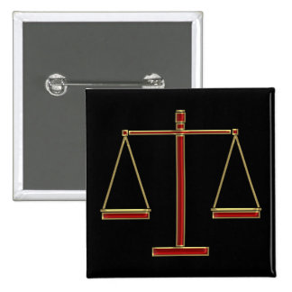 Elegant Red Scales of Justice | Law 2 Inch Square Button