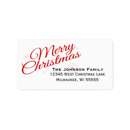 Elegant Red Script Merry Christmas Address Label