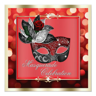 "Elegant Red Shimmering Lights Bokeh Masquerade 5.25"" Square Invitation Card"