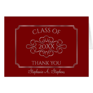Elegant Red Silver College Graduation Thank You Card