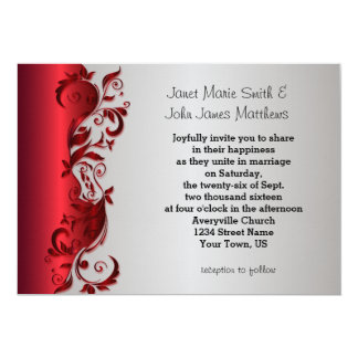 Elegant Red & Silver Florid Wedding Design Card