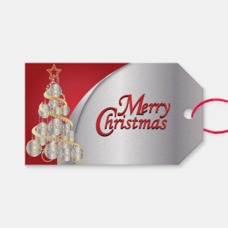 Elegant Red, Silver, White and Gold Christmas Gift Tags