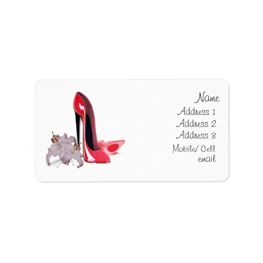 Elegant Red Stiletto Shoes and Lilies  Label