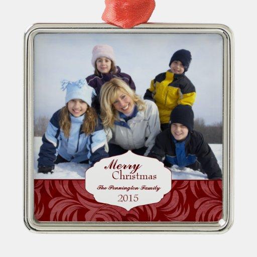Elegant red swirl christmas holiday photo ornament