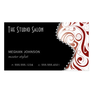 Elegant Red Swirly Swirl Business Card Template