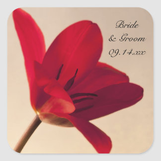 Elegant Red Tulip Wedding Envelope Seals