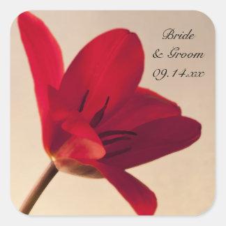 Elegant Red Tulip Wedding Envelope Seals Square Sticker