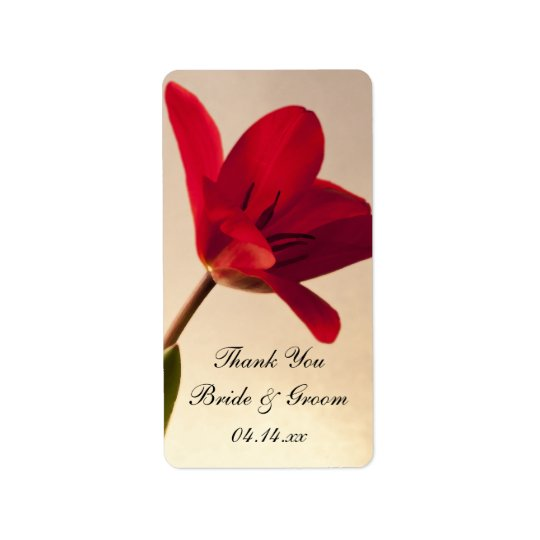 Elegant Red Tulip Wedding Thank You Favour Tags