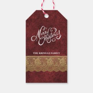 Elegant Red Velvet Gold Lace Merry Christmas Gift Gift Tags