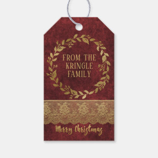 Elegant Red Velvet Gold Lace Merry Christmas Gift Tags
