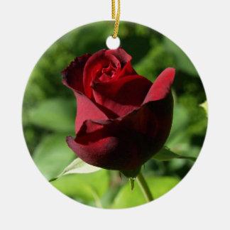 Elegant Red Velvet Rose Ceramic Ornament
