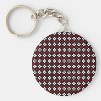 Elegant Red & White Argyle Pattern on Black Basic Round Button Keychain