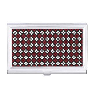 Elegant Red & White Argyle Pattern on Black Business Card Holder