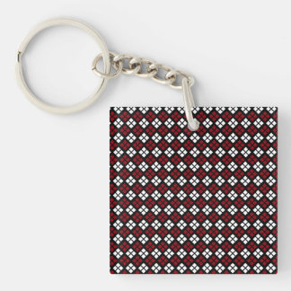 Elegant Red & White Argyle Pattern on Black Double-Sided Square Acrylic Keychain