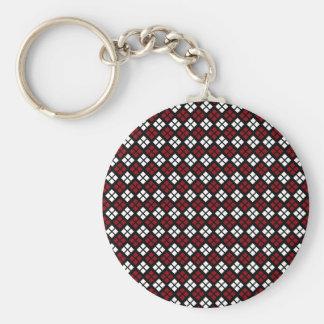 Elegant Red & White Argyle Pattern on Black Keychain
