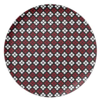Elegant Red & White Argyle Pattern on Black Plate