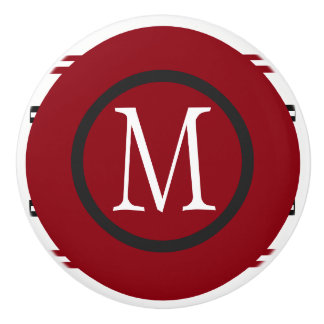 Elegant Red White Black Line Design With Monogram Ceramic Knob