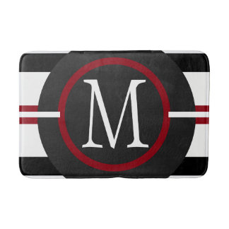 Elegant Red, White & Black Lines With Monogram Bath Mat