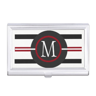 Elegant Red, White & Black Lines With Monogram Business Card Holder
