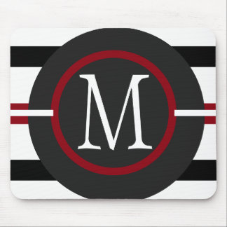 Elegant Red, White & Black Lines With Monogram Mouse Pad