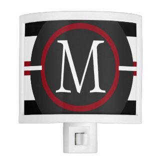 Elegant Red, White & Black Lines With Monogram Nite Light